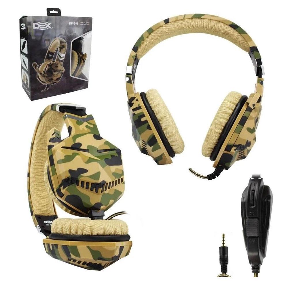 Fone Headset Gamer Camuflado Dex Df-508 Para PC e Video Game