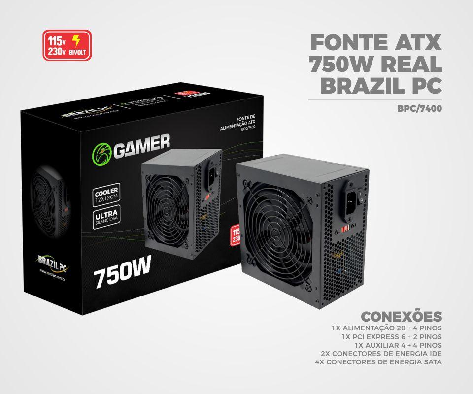 Fonte ATX 750 Watts Real BPC-7400 Brazil -PC