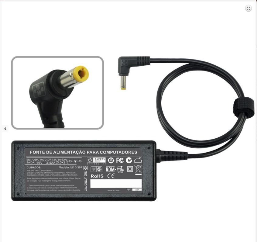 FONTE P/ NOTEBOOK 19V 3.42A – Plug. 5.5×2.5mm