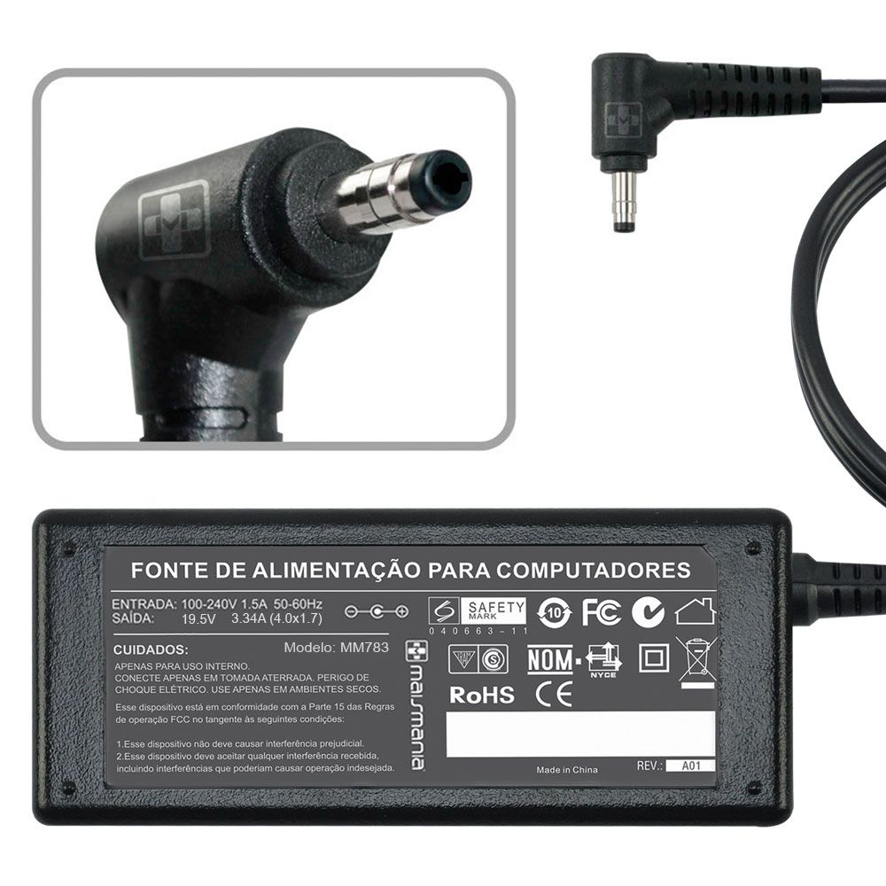 Fonte P/ Notebook Dell Ultrabook5470 MaisMania (D19.5V 3.34A) 65W