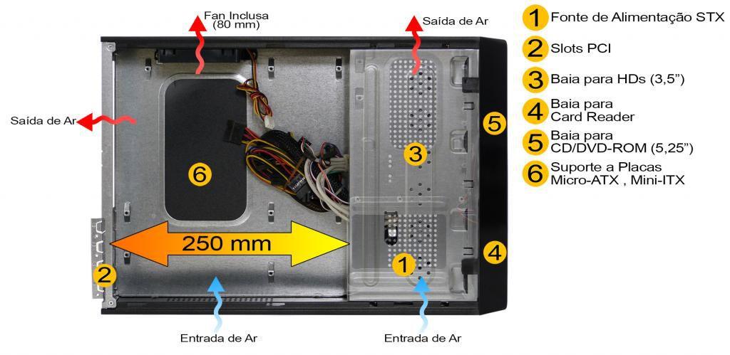 Gabinete Pixxo Slim HT-8102-E Vermelho