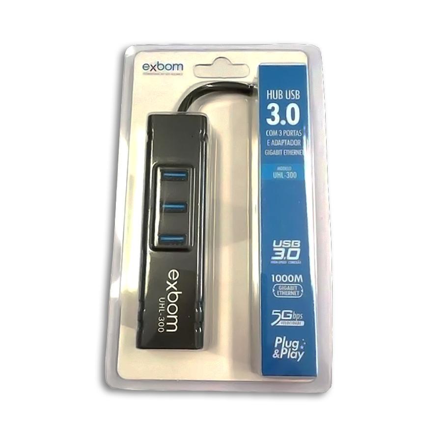 Hub 3 Portas USB 3,0 5-GHZ Rede Lan uhl 300 Exbom