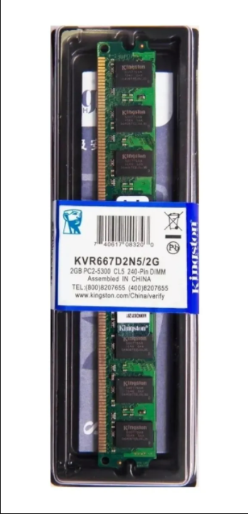Memória Kingston Ddr2 2gb 667Mhz Desktop - Kvr667d2n5/2g