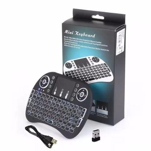 Mini Teclado Mouse Touchpad Wireless Bluetooth Iluminado Wifi Sem Fio I8. LED Bateria USB Preto