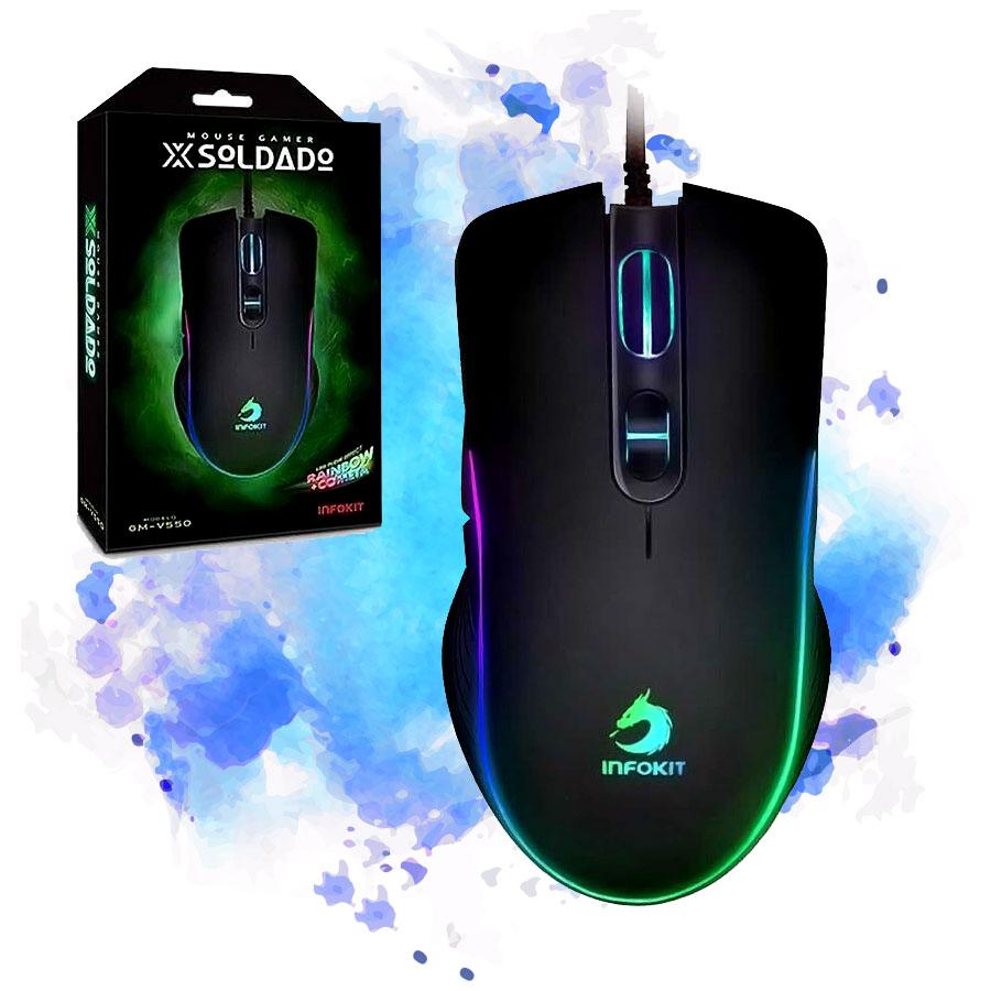 Mouse Gamer Usb 6400dpi Infokit XSoldado Gm-v550 Led Rgb