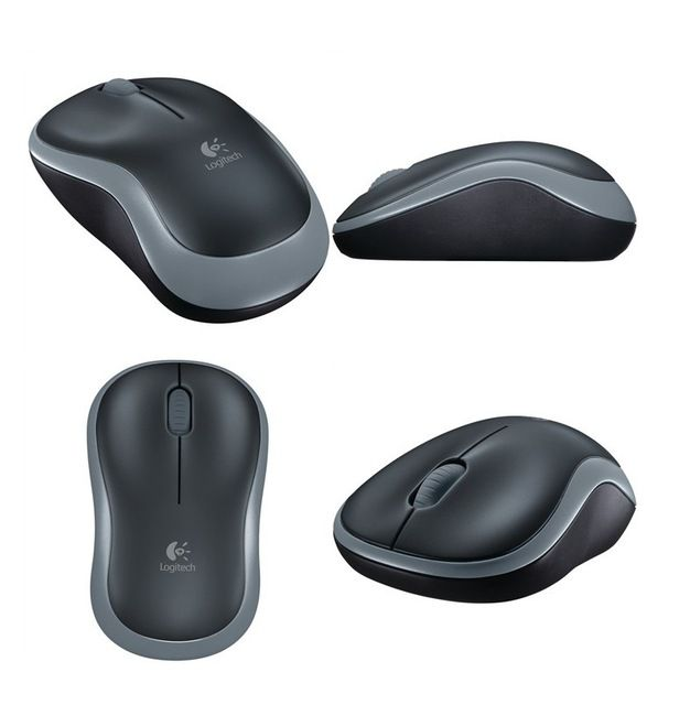 Mouse Logitech Wireless Óptico M185 Cinza