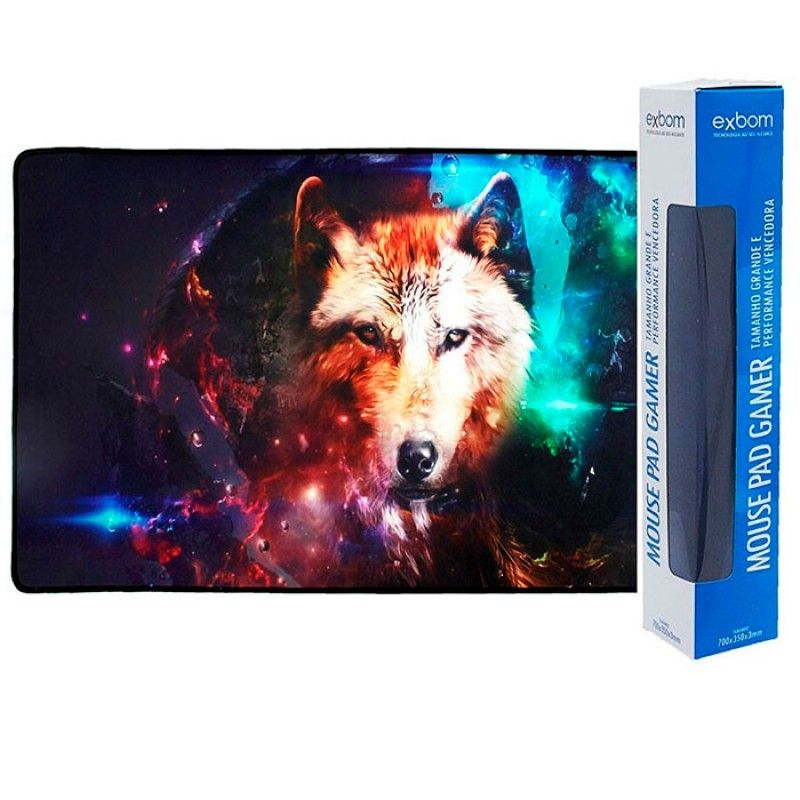 Mouse Pad Gamer Extra Grande 70x35 Estrela de Lobo 2590 Exbom