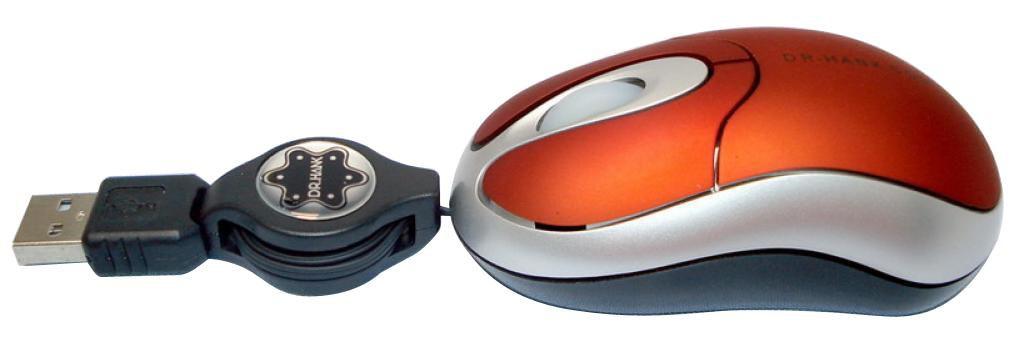 MOUSE USB RETRATIL MO-253R VERM/PRETO DR.HANK