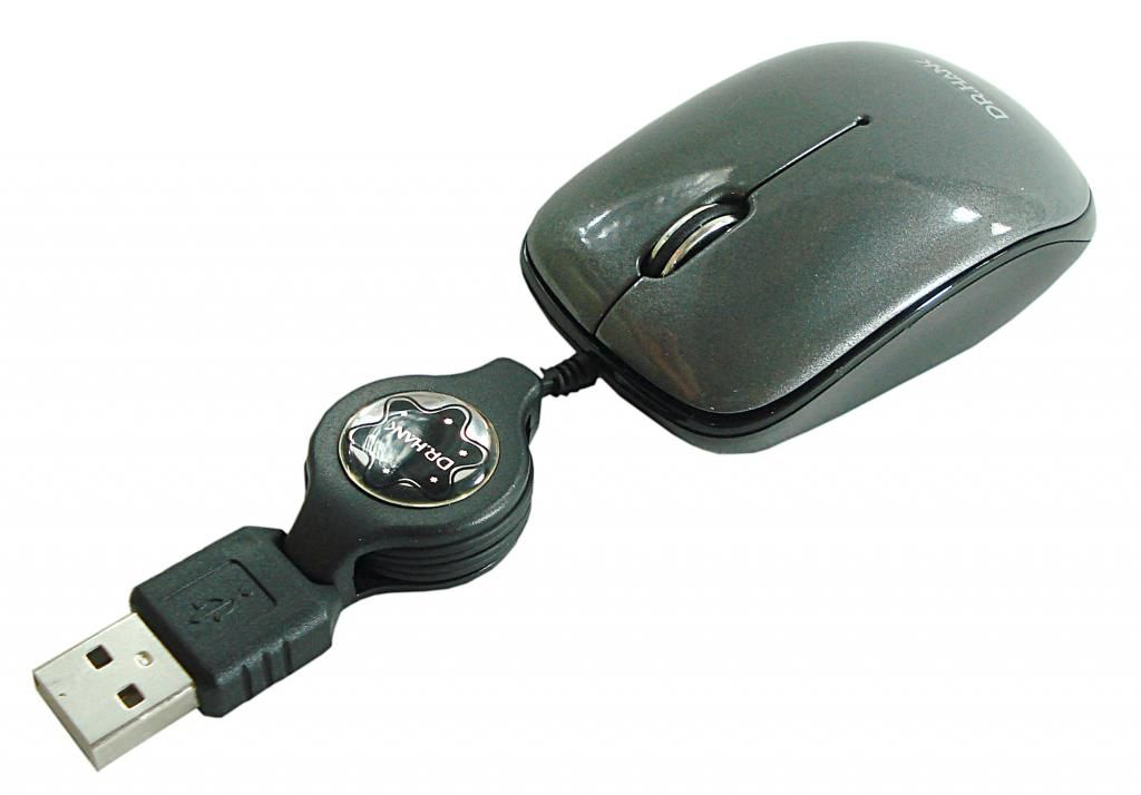 MOUSE USB RETRATIL MO-259R CINZA DR - HANK
