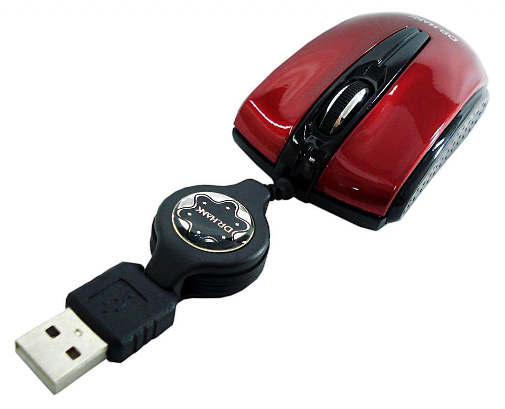 MOUSE USB RETRATIL MO-259R VERMELHO DR-HANK
