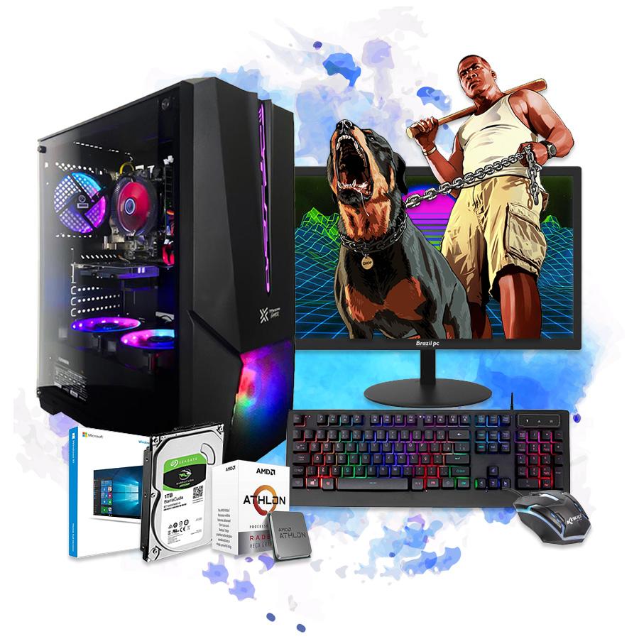 Pc Computador Gamer Completo AMD Athlon320ge HD 1TB Monitor