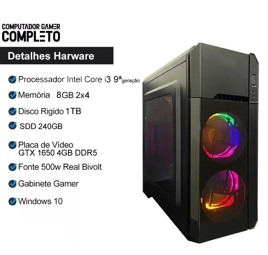 Pc Gamer Completo i3 9100  8gb SSD 240 HD 1TB Placa de Video