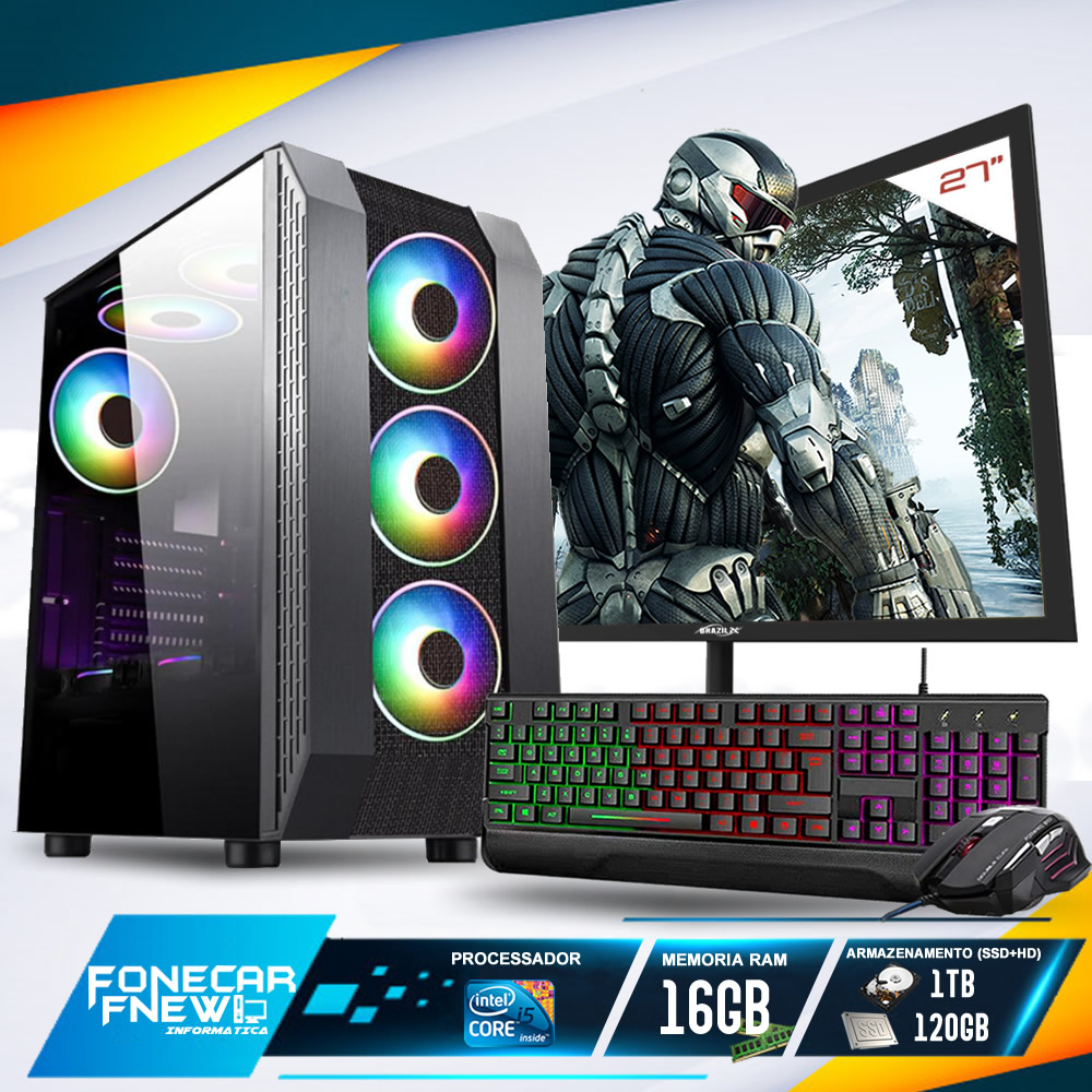Pc Gamer Completo I5 16gb Ssd120 1tb Placa De Video Monitor