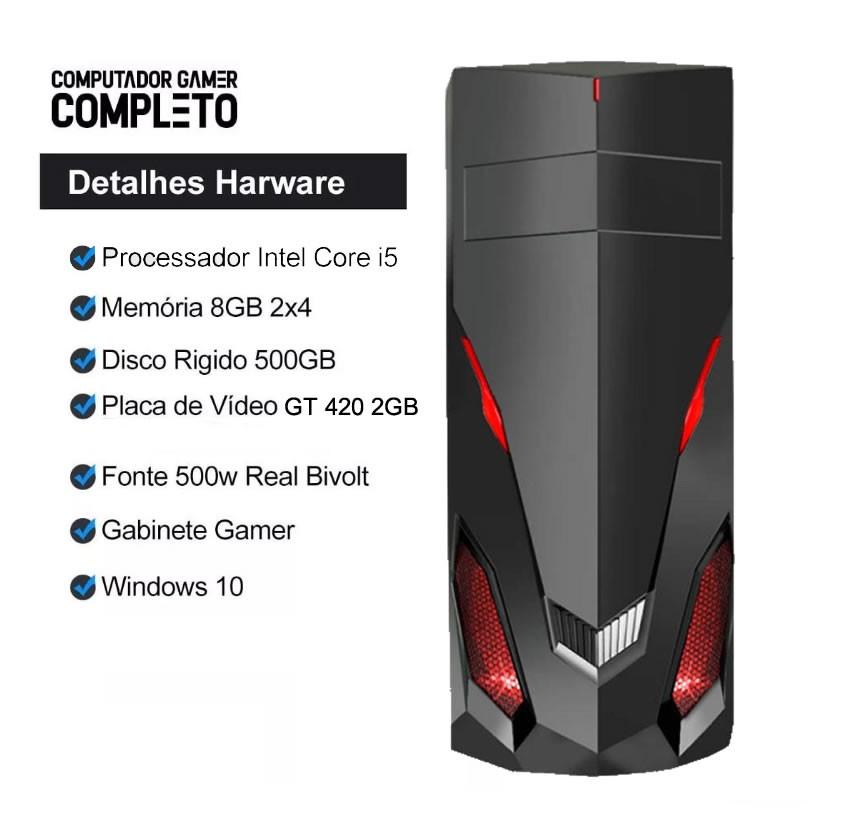 Pc Gamer Completo I5 3GR 8gb Hd 500gb Placa de Vídeo Monitor