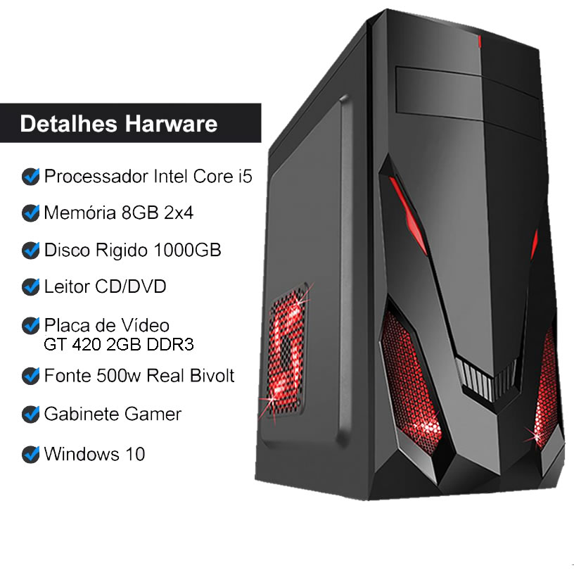 Pc Gamer Completo I5 8gb Hd 1tb Hdmi Placa de Vídeo Monitor