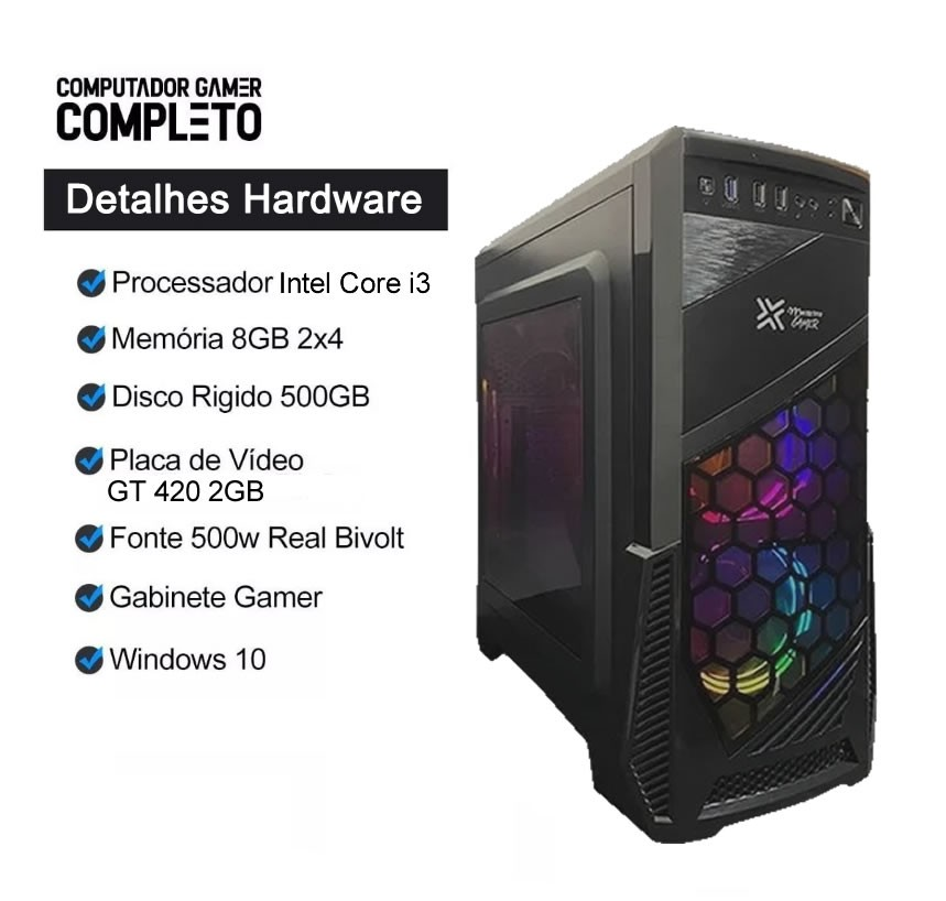 Pc Gamer Completo Intel Core i3 Hd 500gb Placa de Video Monitor Hdmi