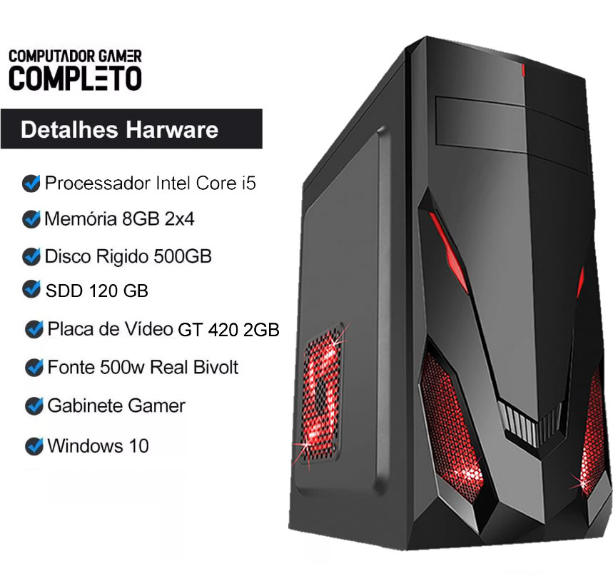 Pc Gamer Cpu I5 8gb Ssd 120gb Hd500 Placa De Video