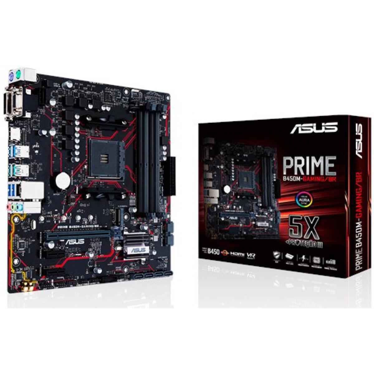 Placa mãe Asus Prime B450m Gaming/br Amd Am4 Ddr4 Ryzen