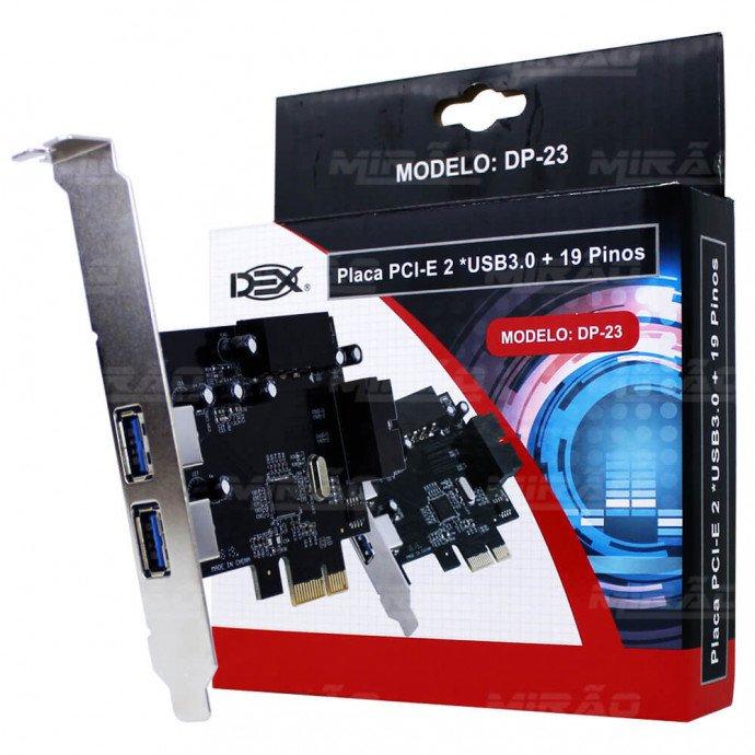Placa Pci-Express 2 Usb 3.0 19 Pinos Dp-23 Dex