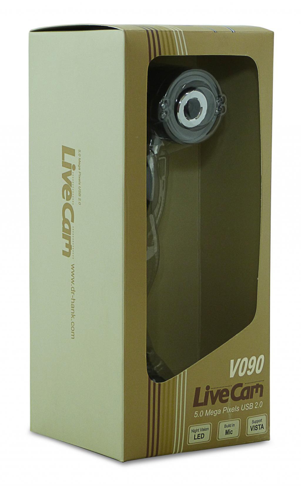 WEBCAM  C/ MICROFONE 5MB V090 LIVE CAM DR HANK C/ LED