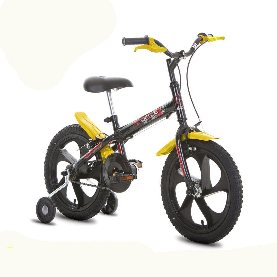 Bicicleta Infantil Aro 16 Houston Pix Monotubo Preto/Amarelo