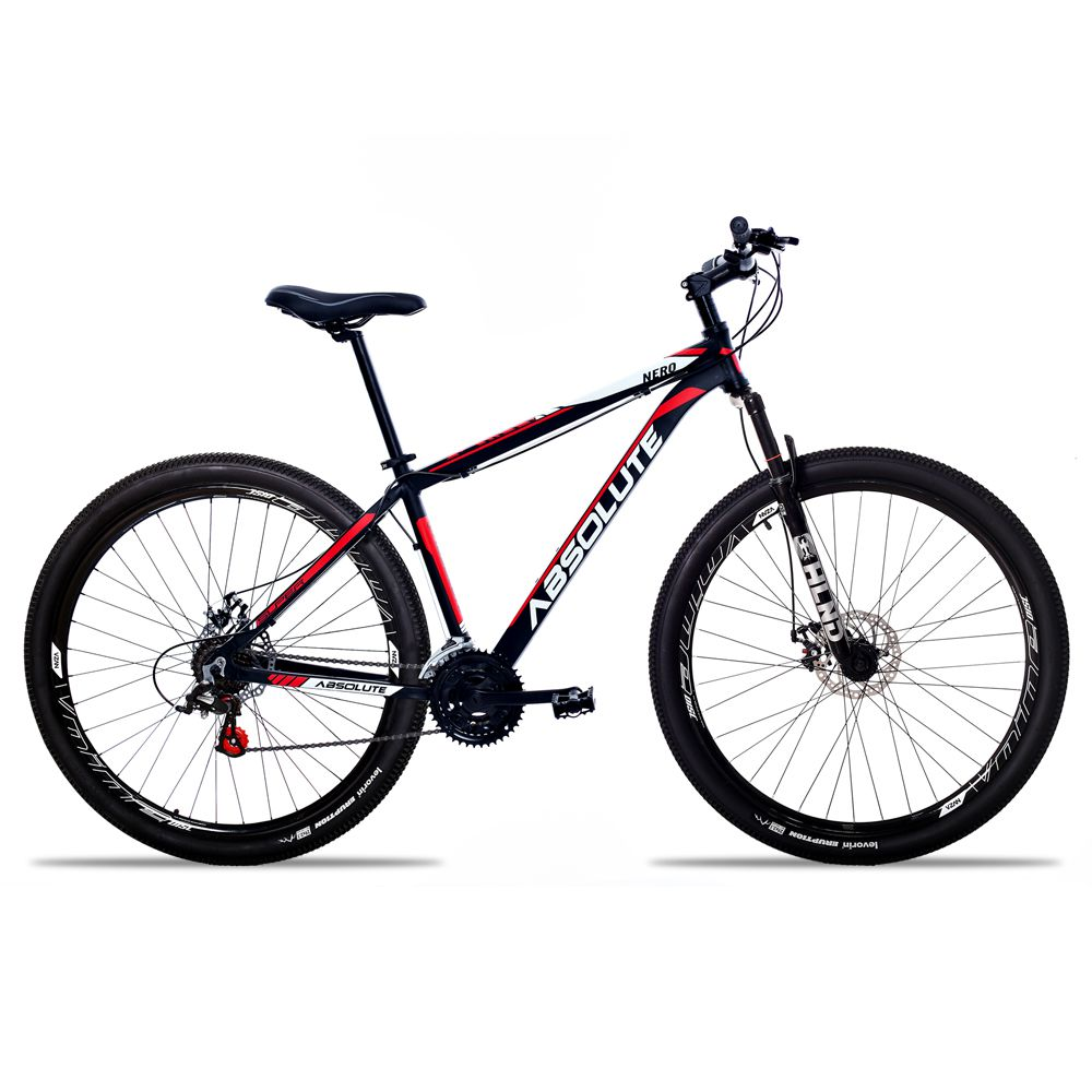 Bicicleta Aro 29 Absolute Nero II 21v Freio a Disco Pto/Verm