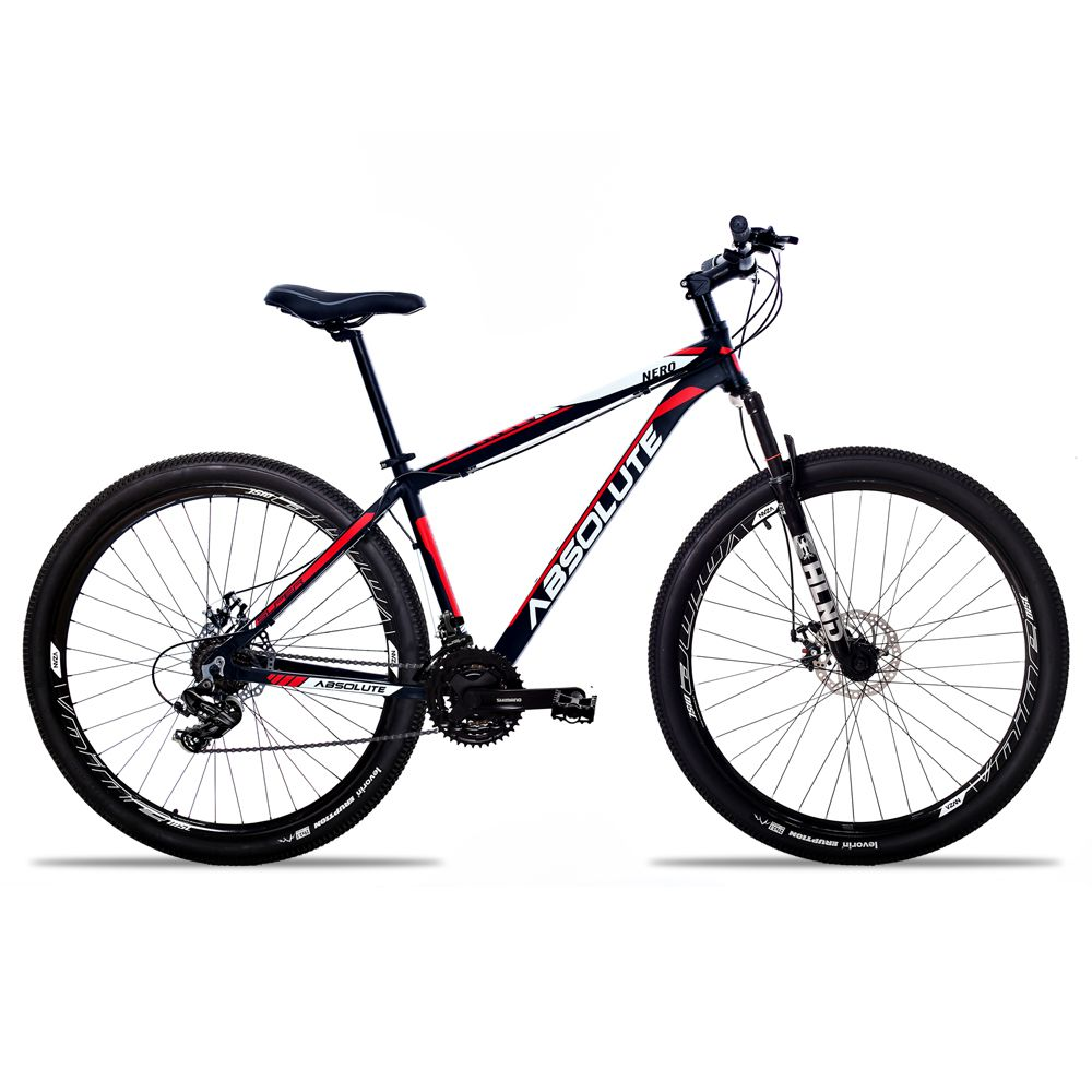 Bicicleta Aro 29 Absolute Nero II 24v Shimano Freio a Disco Pto/Verm
