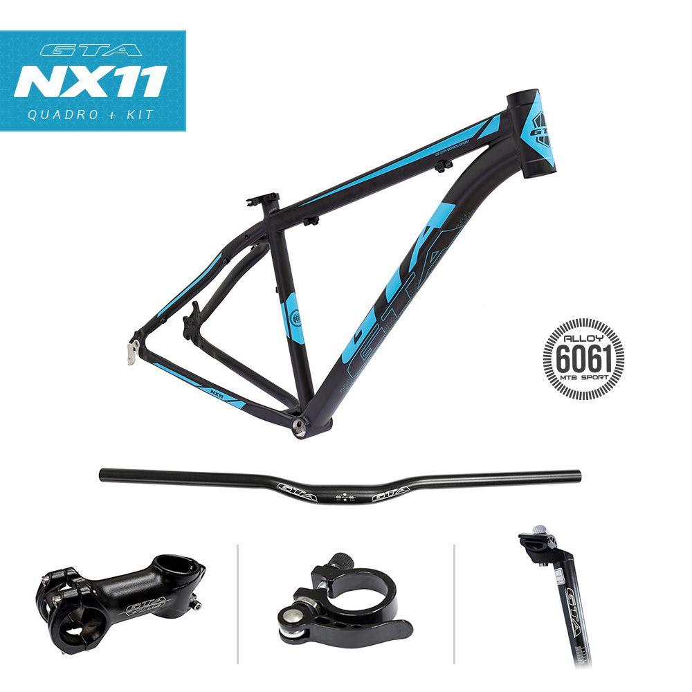 Bicicleta Aro 29 GTA NX11 24v Freio a Disco Pto/Azul