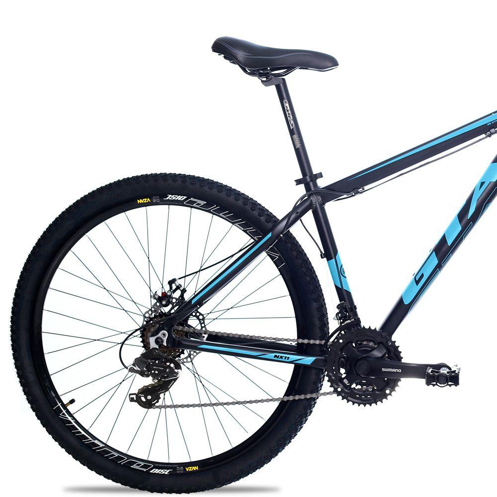 Bicicleta Aro 29 GTA NX11 24v Shimano Freio a Disco Pto/Azul