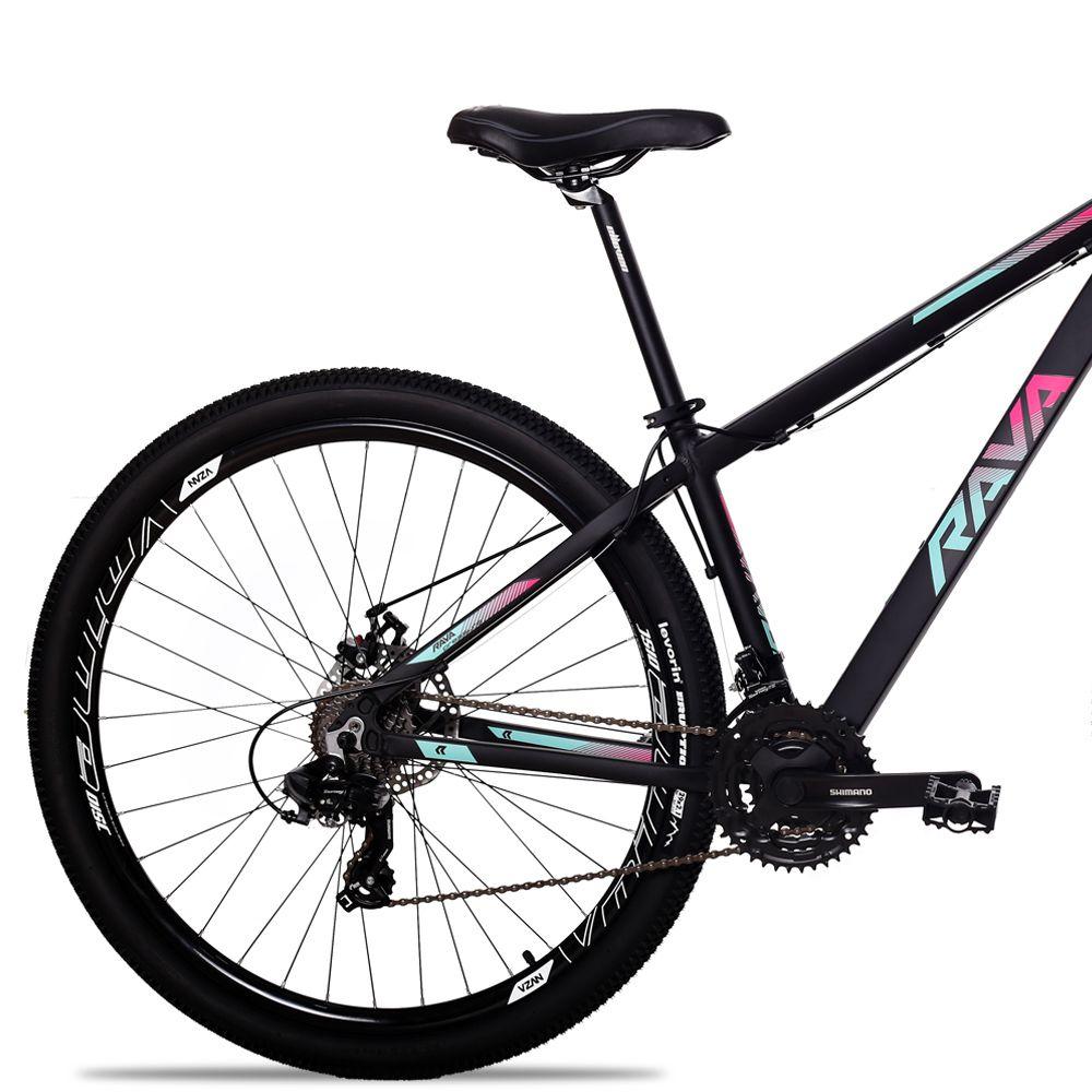 Bicicleta Aro 29 Rava Pressure 24V Shimano Compl Freio a Disco Pto/Pink/Azul
