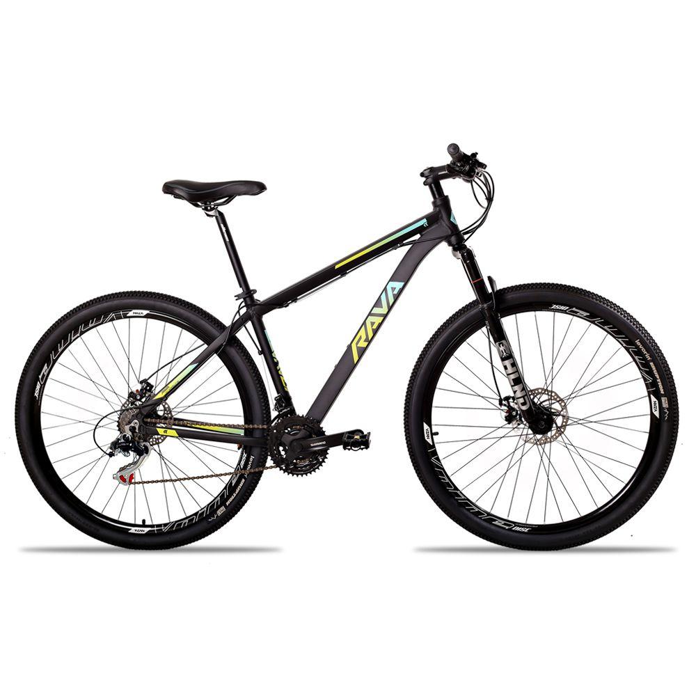 Bicicleta Aro 29 Rava Pressure 21v Shimano Freio a Disco Pto/Verde/Azul