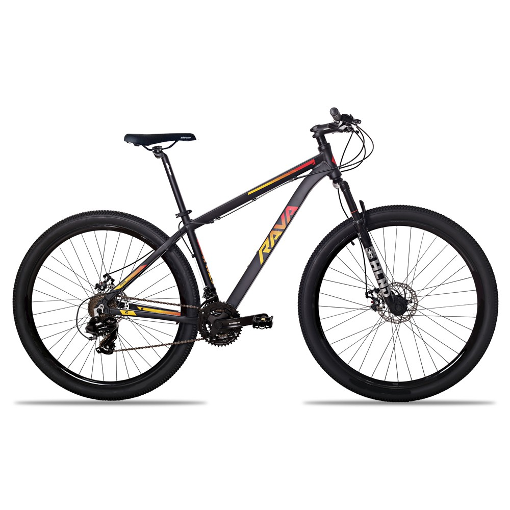 Bicicleta Aro 29 Rava Pressure 21v Shimano Freio Hidraulico Pto/Verm/Amar