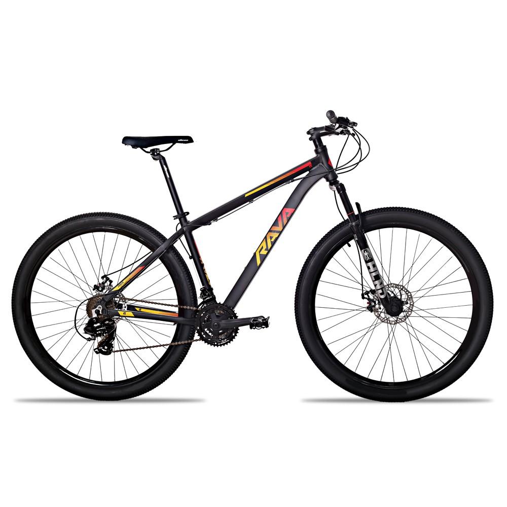 Bicicleta Aro 29 Rava Pressure 24v Câmbios Shimano Freio a Disco Pto/Verm/Amar