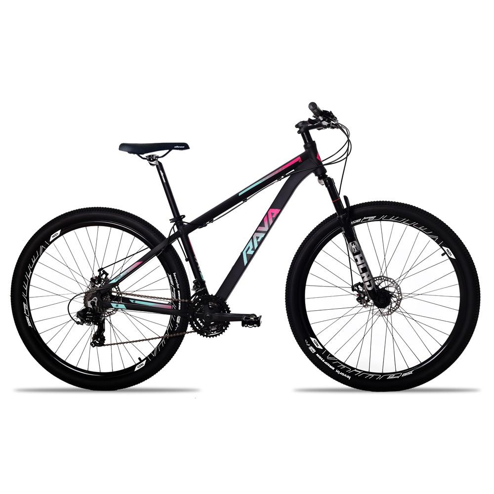 Bicicleta Aro 29 Rava Pressure 24v Cambios Shimano Hidraulico Pto/Pink/Azul