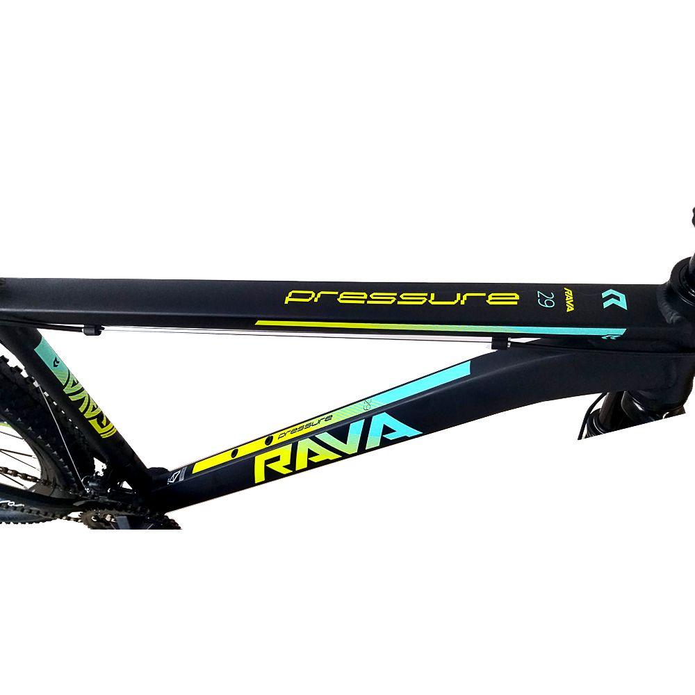 Bicicleta Aro 29 Rava Pressure 27v F Hidráulico e Grupo Shimano Completo Pto/Verde/Azul