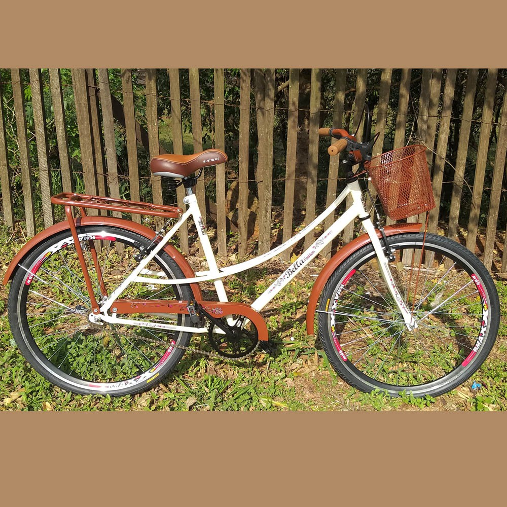 Bicicleta Bella Liza Retro/Vintage Aro 26 Aço V-brake Bege/Marrom