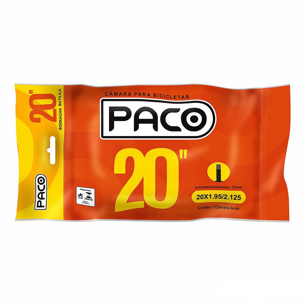 Câmara de Ar para Bicicleta Aro 20 Paco Bico Grosso 35mm
