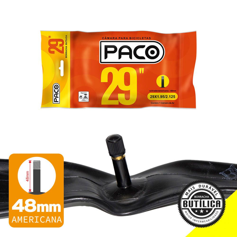 Câmara de Ar para Bicicleta Aro 29 Paco Bico Grosso 48mm
