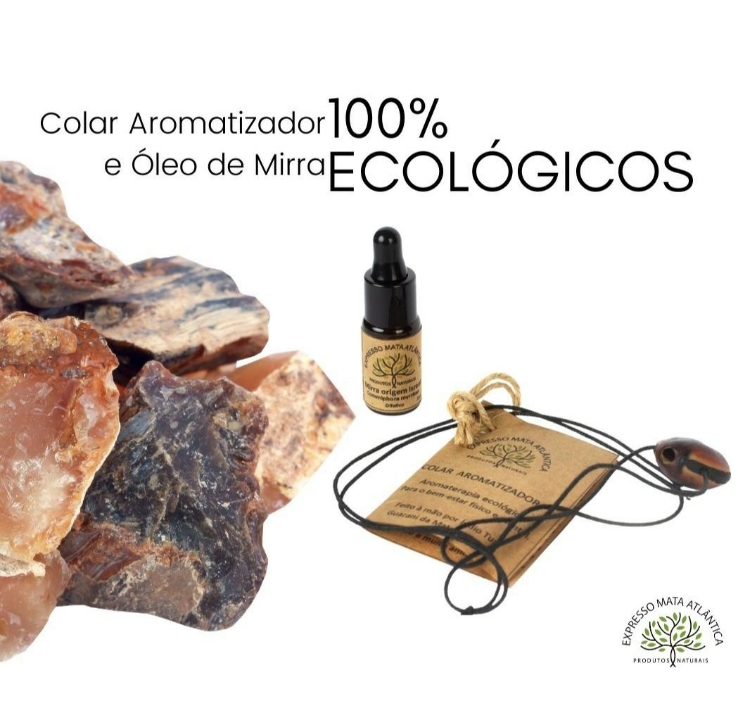 Colar Aromaterapia e óleo de Mirra Expresso Mata Atlântica