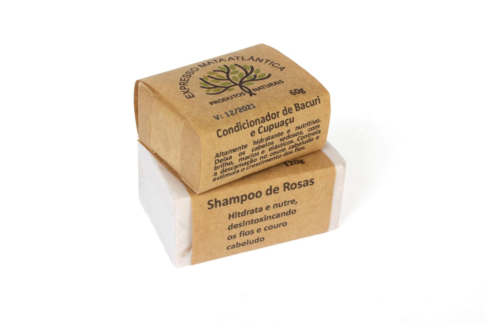 Condicionador barra de Bacurí e Shampoo barra Rosas da Expresso Mata Atlântica