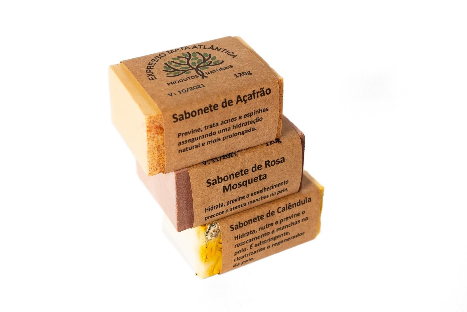 Kit Sabonetes Veganos Açafrão, Rosa Mosqueta, Calêndula da Expresso Mata Atlântica