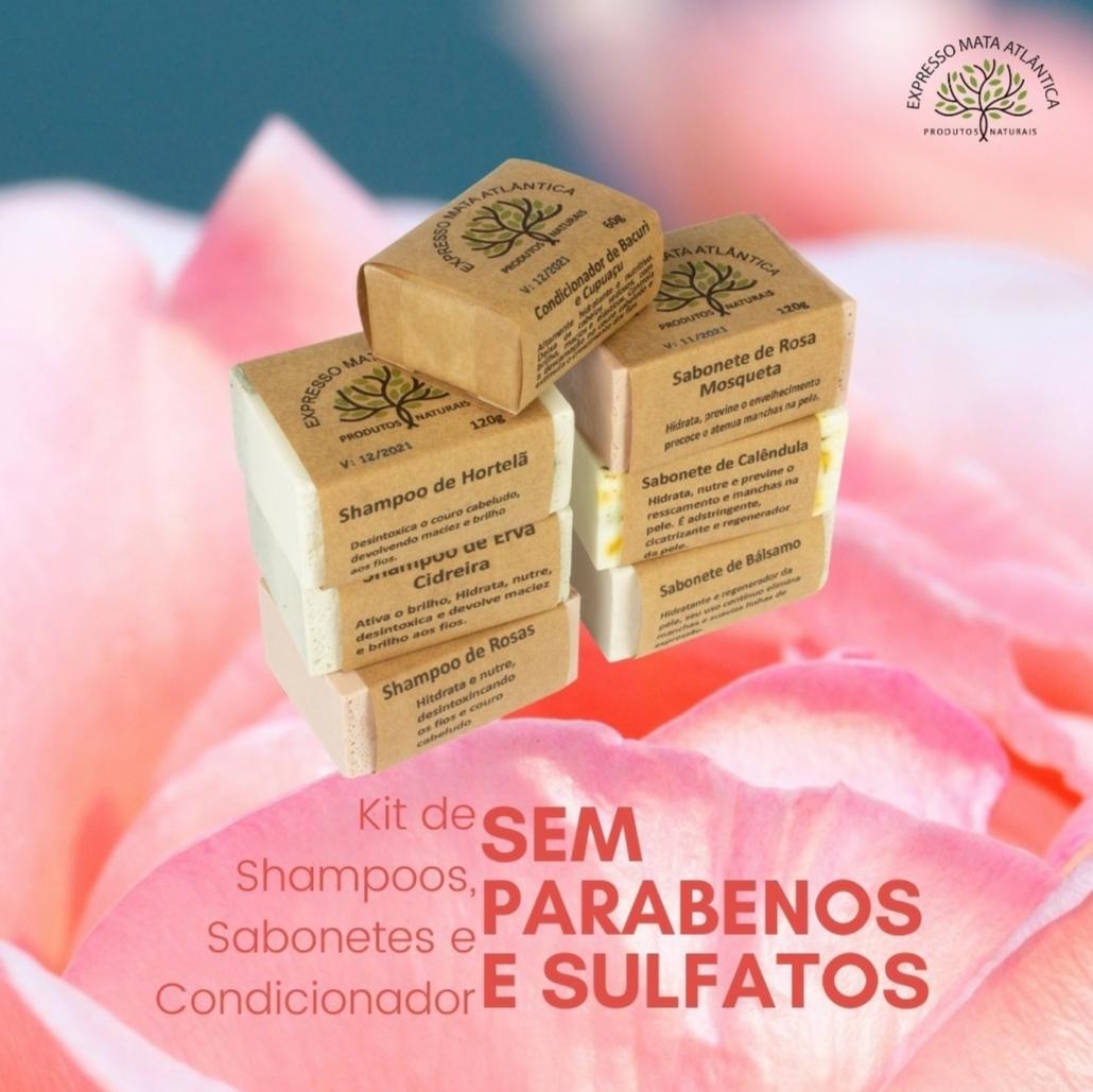 kit Shampoos barra Sabonetes e condicionador Expresso Mata Atlântica