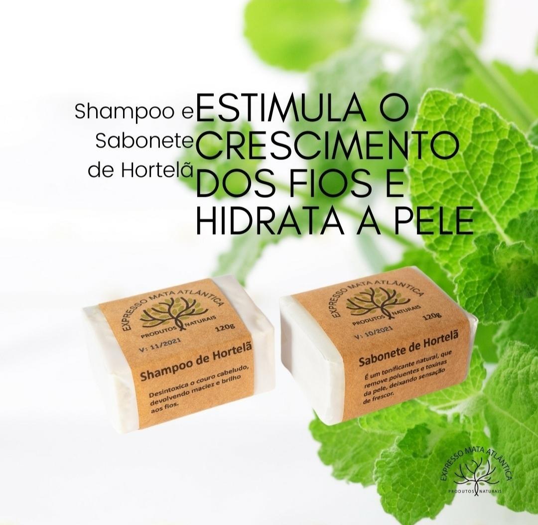 Shampoo barra e sabonete Vegano,  Natural  Hortelâ da Expresso Mata Atlântica.