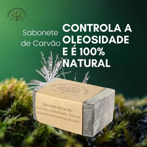 Sabonete Vegano Natural Carvão e Argila branca da Expresso Mata Atlântica