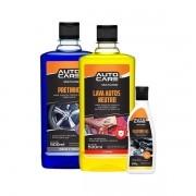 KIT 3X1 AUTOCARE (PRETINHO LIQ+LAVA AUTOS+SILICONE GEL TRADICIONAL)