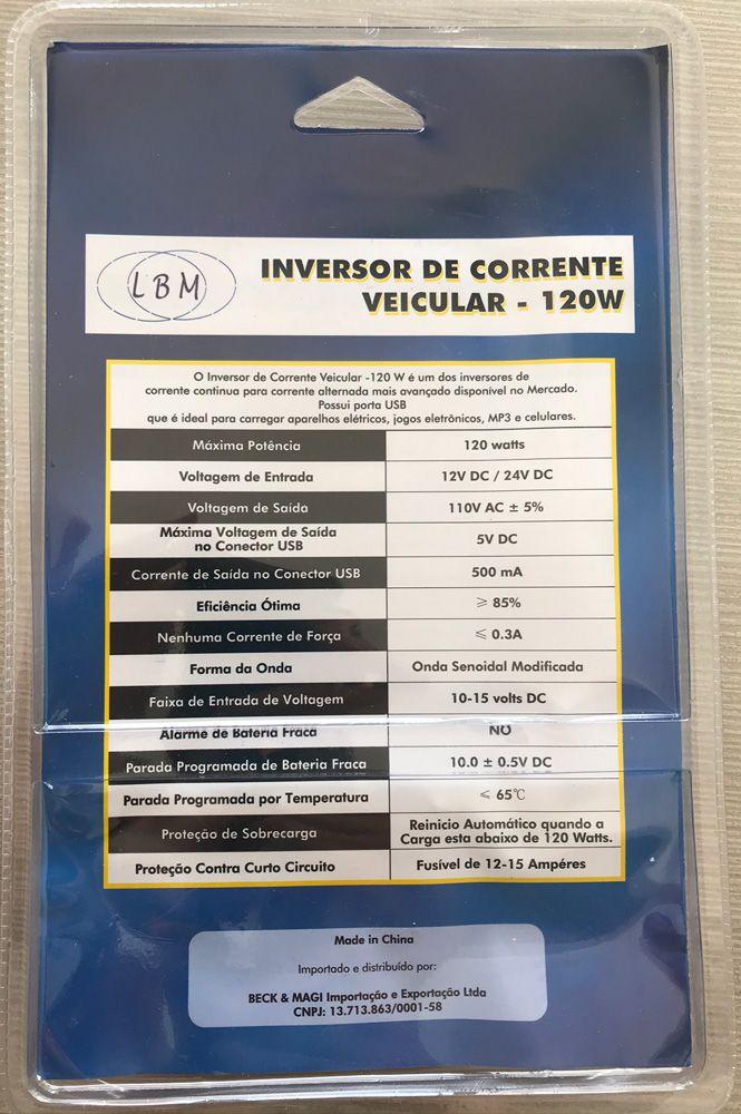 Inversor de corrente veicular 12V para 110V Potência 120 W
