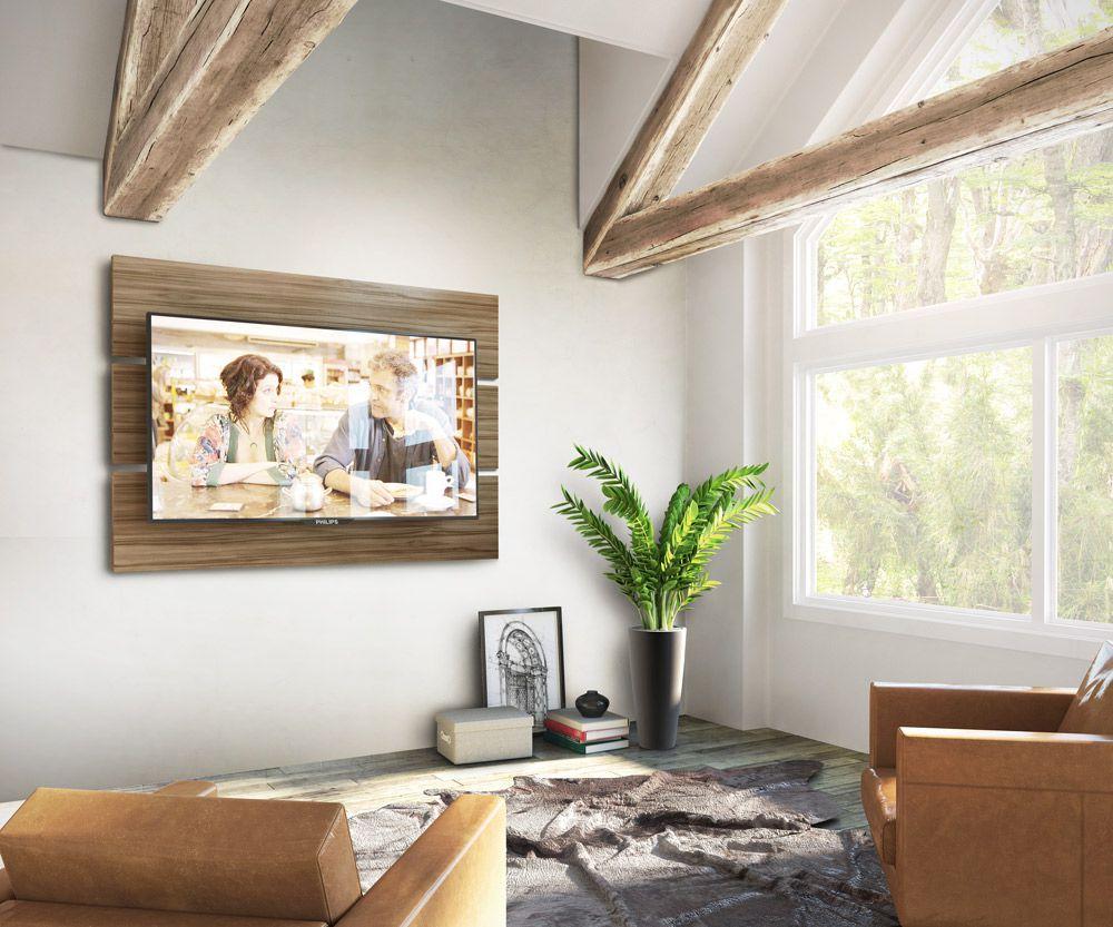 Painel decorativo com suporte para TV LED/LCD/Plasma/4K até 56 Pol