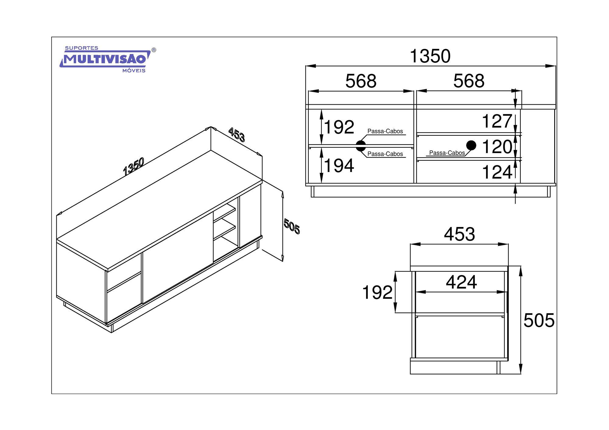 Rack para TV LCD/Plasma/LED até 52 pol.