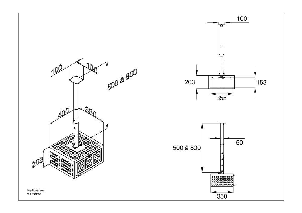 Suporte de teto antifurto para projetor