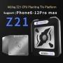 Suporte magnético de reballing  CPU com 8 estênceis para iPhone A8 / A9 / A10 / A11 / A12 / A13 / A14 / A14S Mijing Z21